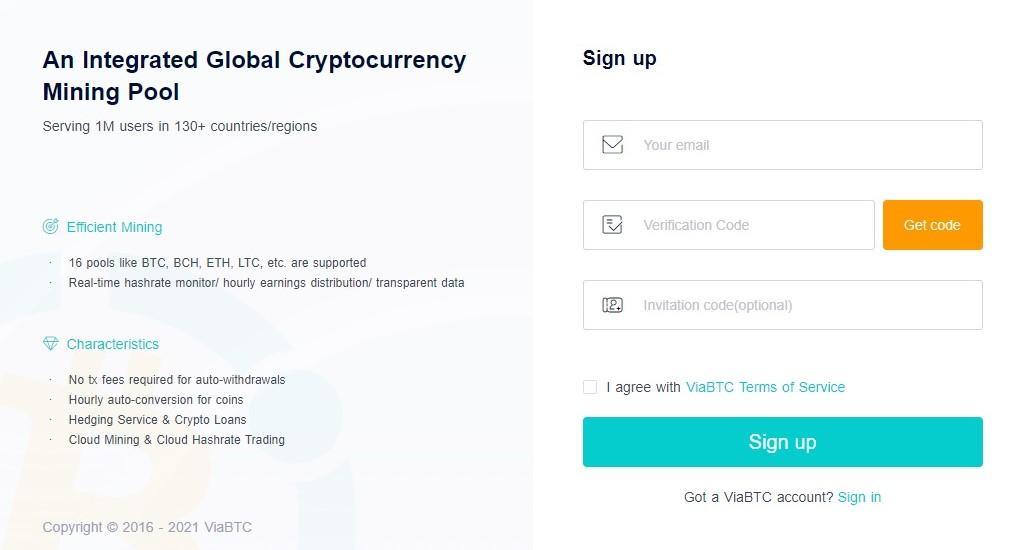 صفحه عضویت viabtc